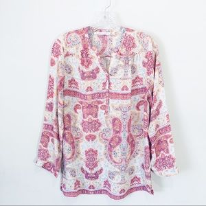 Violet + Claire paisley floral long sleeve top